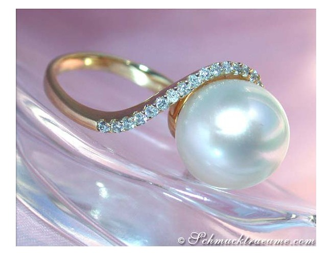 Precious Southsea Pearl Ring with Diamonds