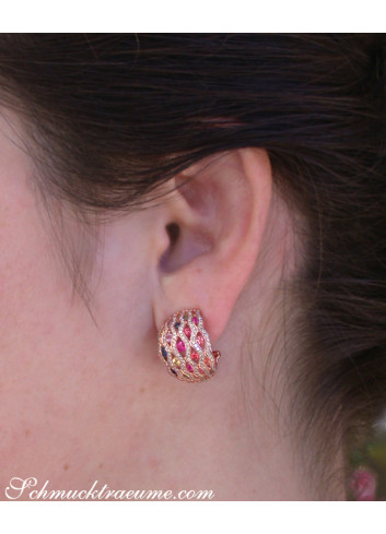 Stately Multicolor Sapphire Earrings with Diamonds