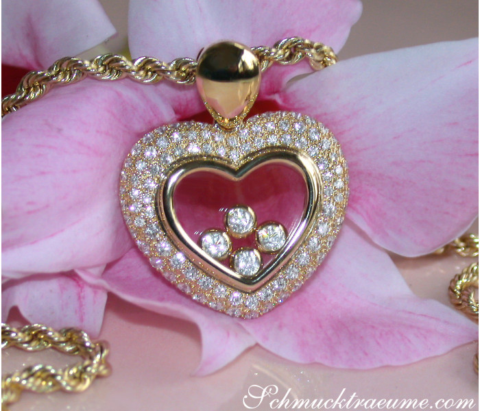 Magnificent Diamond Heart Pendant Behind Glass