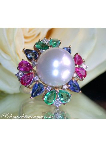 Fantastic AAA Southsea Pearl Ring with Sapphires, Emeralds and Rubies