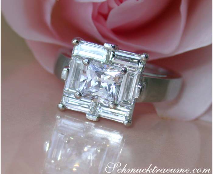 Extravagant Princess Diamond Ring with Baguette Diamonds
