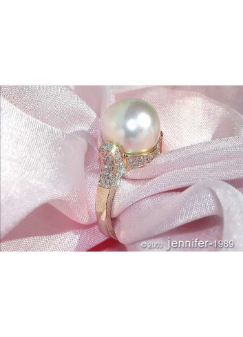 Superb Southsea Pearl Ring with Diamond Collar