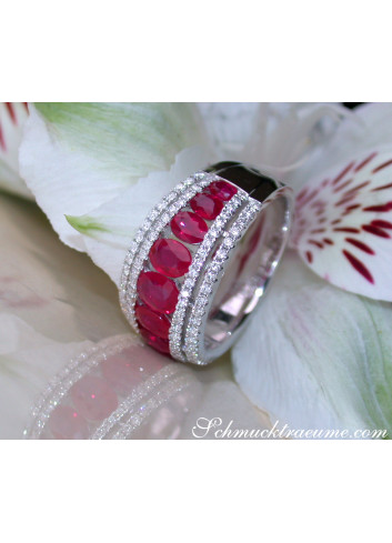 Exquisite Ruby Band with Diamonds