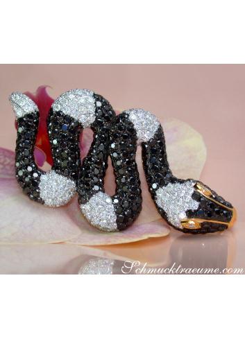 Spektakulärer Schlangen Anhänger mit schwarzen und weißen Diamanten