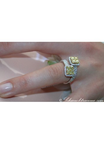 Magnificent Yellow Diamond Ring (Square Design)
