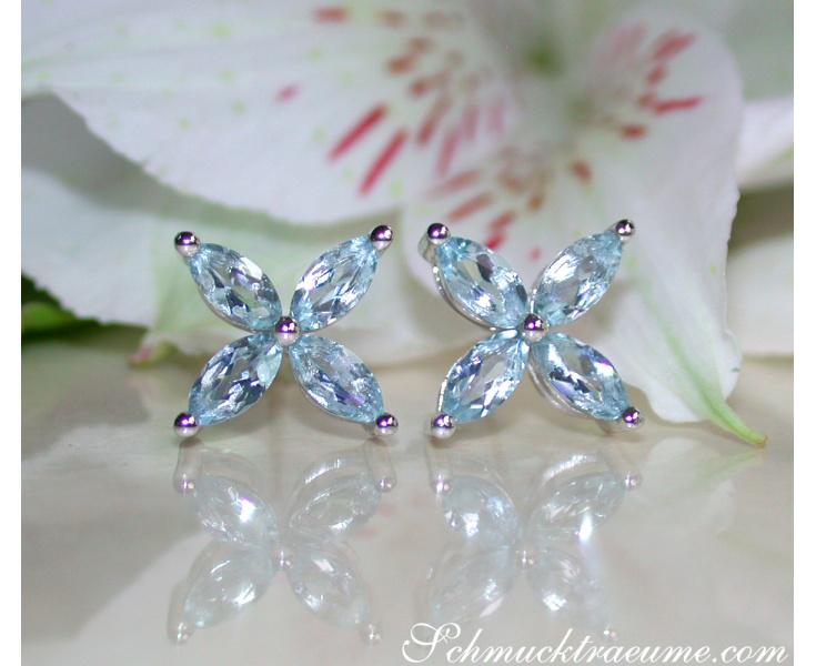 Aquamarine Blossom Style Stud Earrings