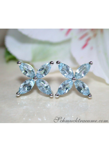 Graceful Aquamarine Blossom Style Stud Earrings