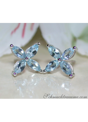 Graceful Aquamarine Blossom Style Stud Earrings