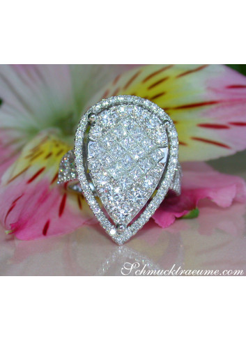 Unique Diamond Pear Ring (Princess & Brilliant Cut)