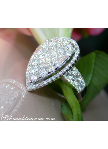 Einzigartiger Diamanten Ring im Tropfen Design (Brillant & Princess Schliff)