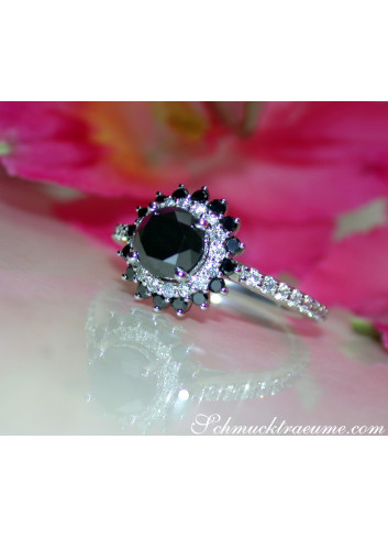 Exceptional Black Diamond Solitaire Ring