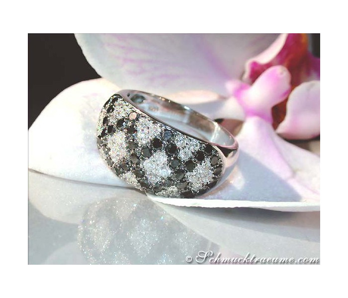 Rhombic Style Black and White Diamond Ring