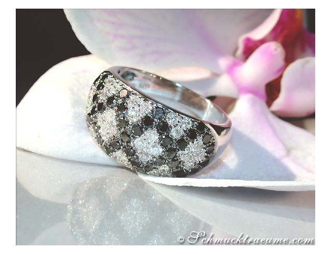 Interesting Black and White Diamond Ring