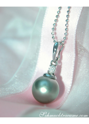Subtle Tahitian Pearl Pendant with Diamond