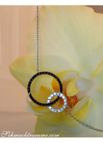 Pretty Circle Necklace with Black & White Diamonds