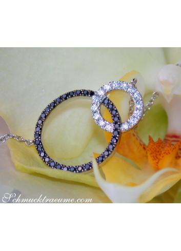 Pretty Circle Necklace with Black & White Diamonds