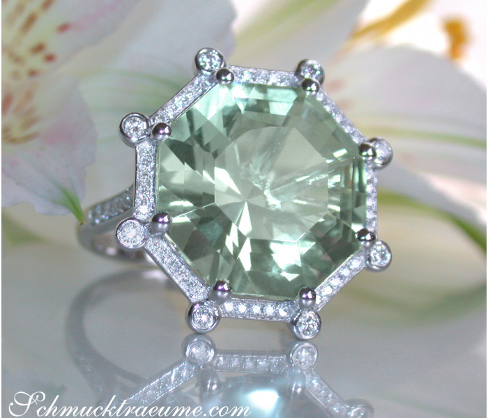 Opulent Prasiolite Ring with Diamonds