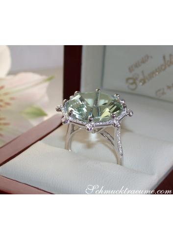 Prasiolith Ring mit Brillanten in Weißgold 585