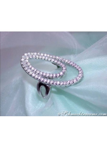 Attractive Diamond Ellipse Ring