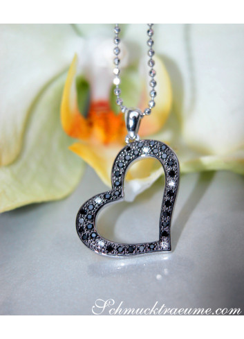 Delicate Black Diamond Heart Pendant
