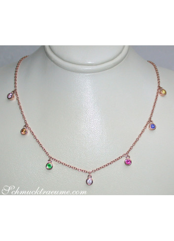 Multicolor Saphir Kette in Roségold
