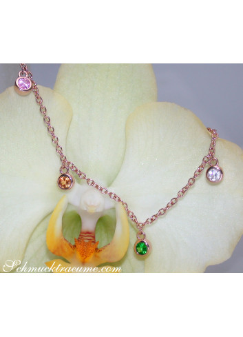 Delicate Multicolor Sapphire Necklace in Rose gold