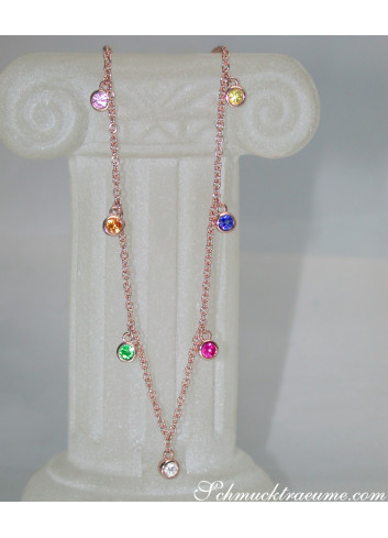 Delicate Multicolor Sapphire Necklace in Rose gold