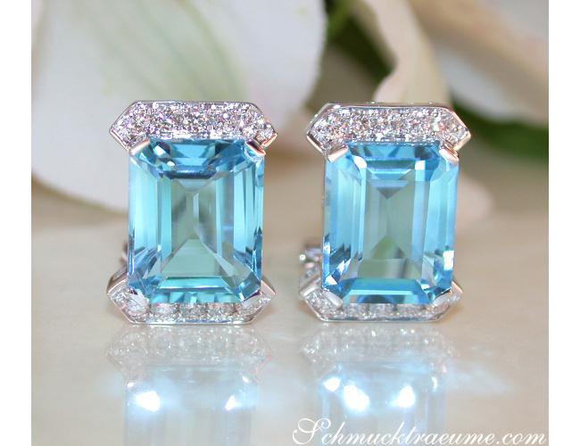 Blautopas Ohrstecker mit Diamanten in Weißgold