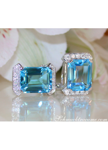 Attractive Blue Topaz Earrings with Diamonds
