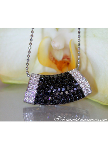 Minimalist Black and White Diamond Pendant