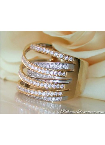 Stately Multi Row Diamond Ring (Two-tone Finish)