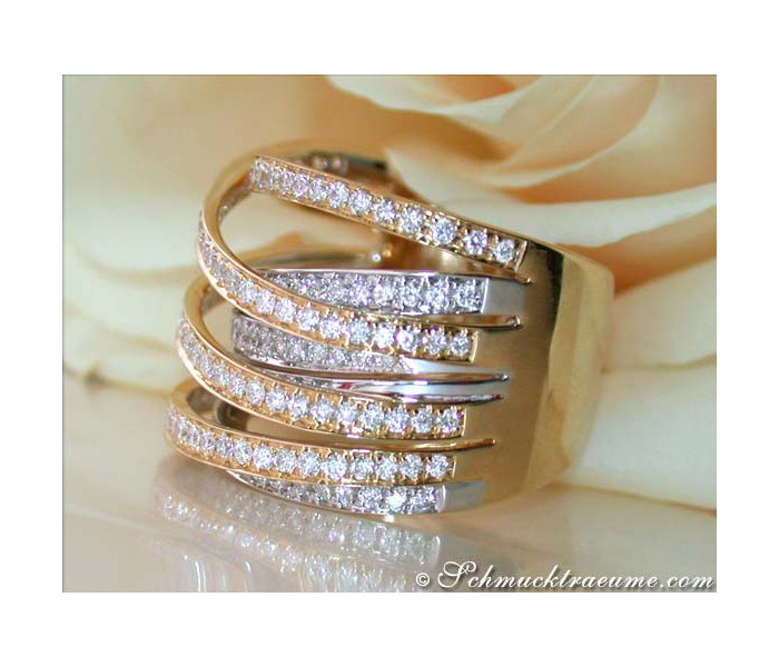 Stately Multi Row Diamond Ring (Bi-Color Finish)