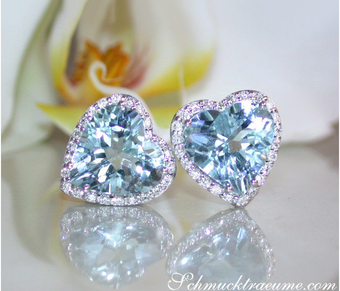 Pretty Aquamarine Heart Studs with Diamonds