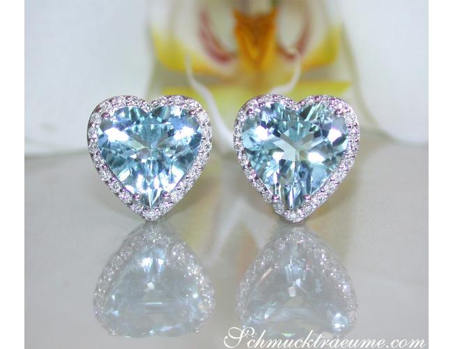Pretty Aquamarine Heart Studs with Diamonds
