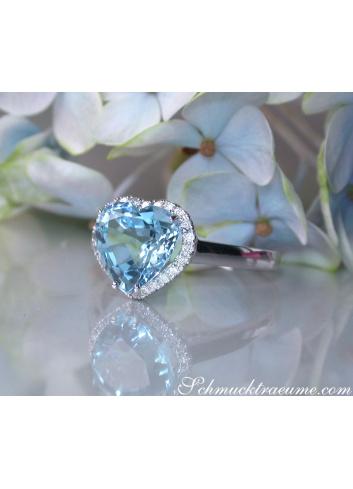 Cute Aquamarine Diamond Heart Ring