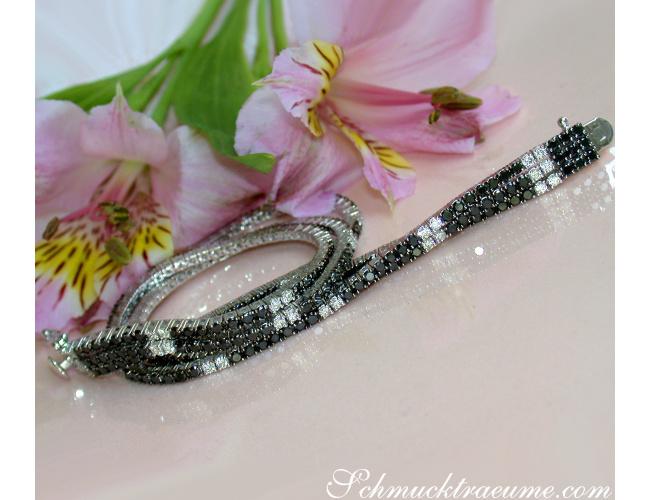 Three rowed Tennis Bracelet with Black and White Diamonds