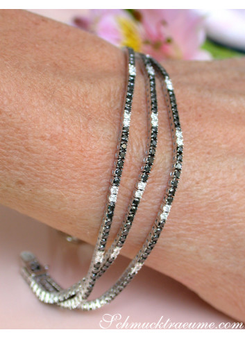 Three rowed Tennis Bracelet with Black and White Diamonds