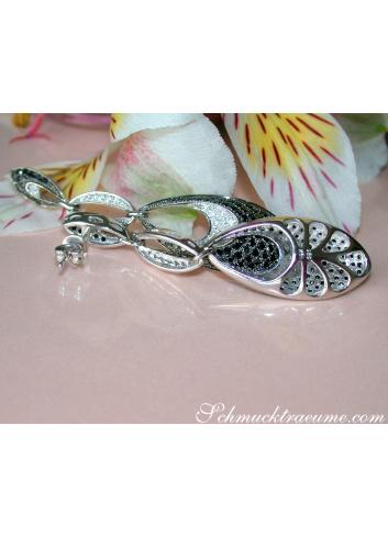 Modern Dangle Earrings with Black Diamonds