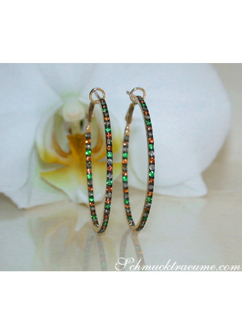 Delicate Hoops with Brown Diamonds, Orange Sapphires & Tsavorites