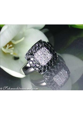 Timeless black and white diamond ring