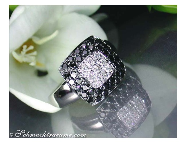 Timeless black and white diamond ring
