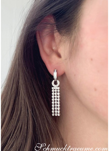 Splendid Dangling Earrings with Diamonds in White gold 14k