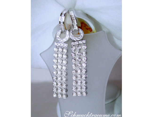 Splendid Dangling Earrings with Diamonds in White gold 14k