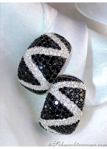 Stately Black & White Diamond Zig - Zag Earrings