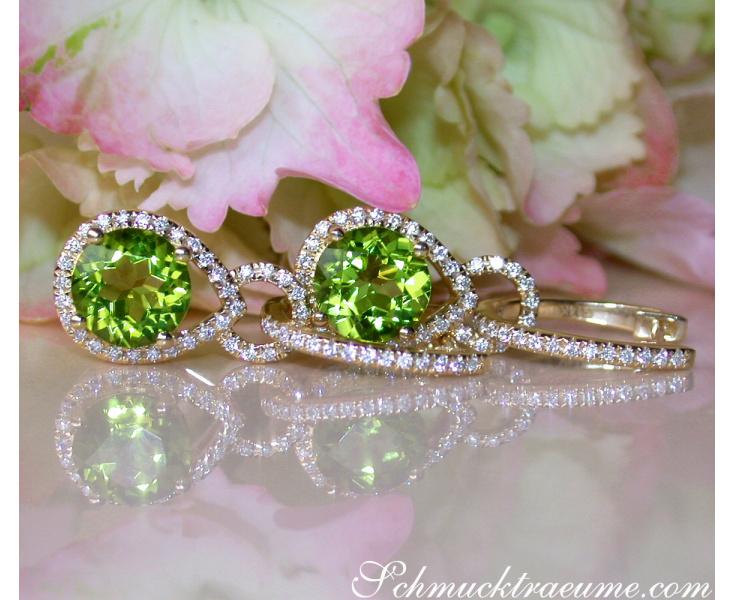 Peridot Ohrringe mit Diamanten Gelbgold 585
