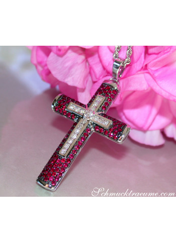 Magnificent Cross in Cross Pendant with Rubies