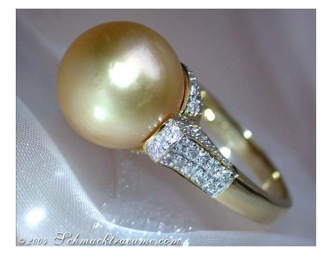 Superb Golden Southsea Pearl Ring with Diamonds