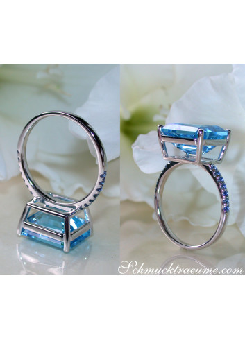 Striking Blue Topaz Ring with Sapphires