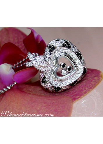 Unusual Black & White Diamond Heart Pendant Behind Glass