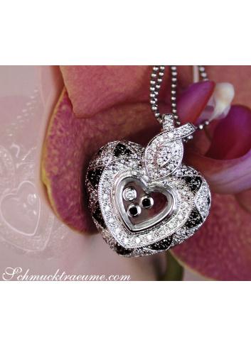 Herz Anhänger mit schwarzen Diamanten hinter Glas